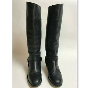 Vtg Leather Riding Boots Black Made in Mexico 6.5